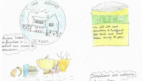 Childs drawing of a food bank.